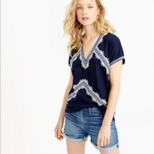 J Crew Embroidered V-Neck Tunic T-Shirt - XS